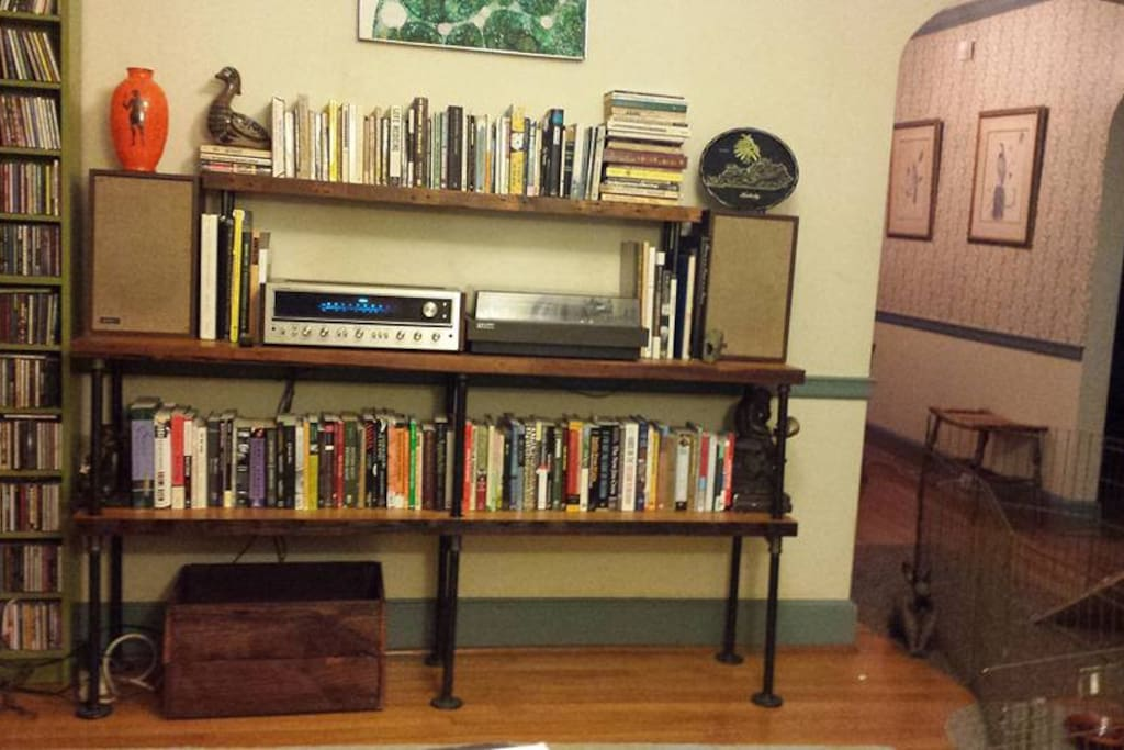 living room with handmade shelves