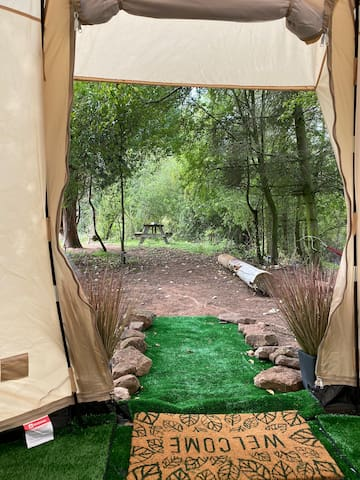 Stunning, Unique Rustic Bell Tent with Pond Views