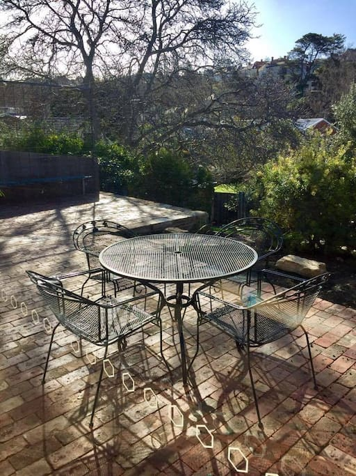 Newly renovated patio area (Aug 2017) with extra room for outdoor entertaining, BBQ and fire pit.