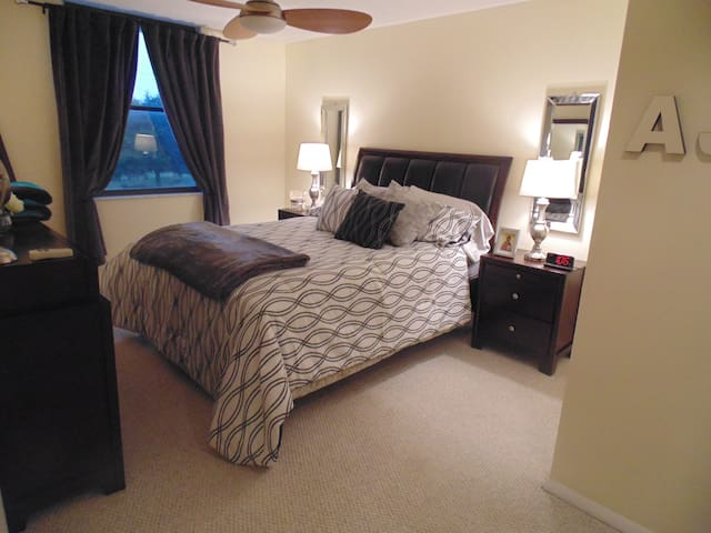 Master bedroom with television