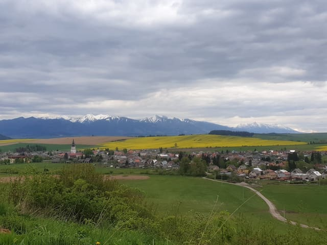 view of the village and Tatras