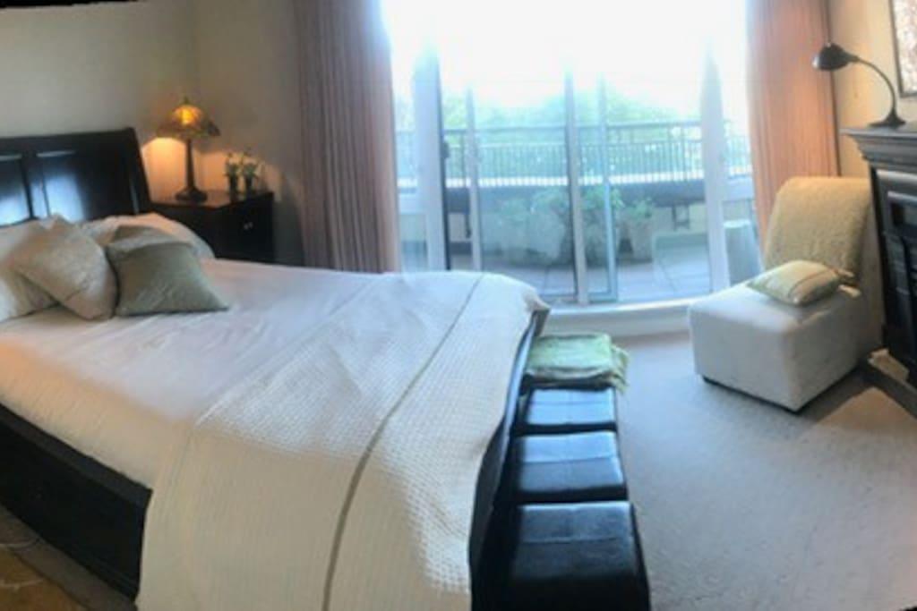 Quiet bedroom with gas fireplace, TV, and walk on deck. Walk in closet between the bedroom and bathroom.