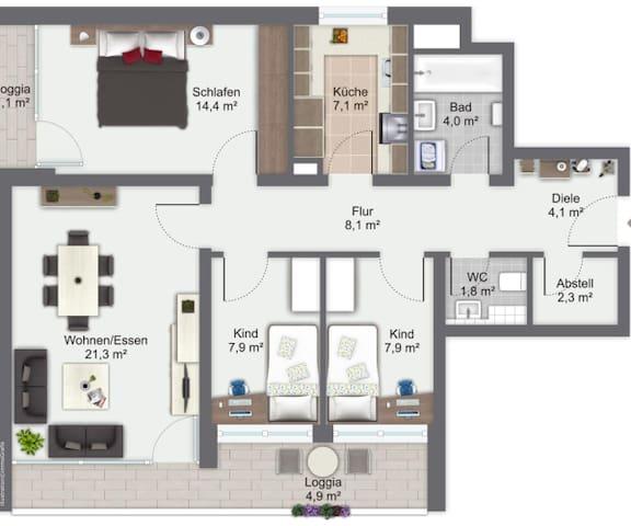 Große Wohnung 20 Minuten zum Zentrum