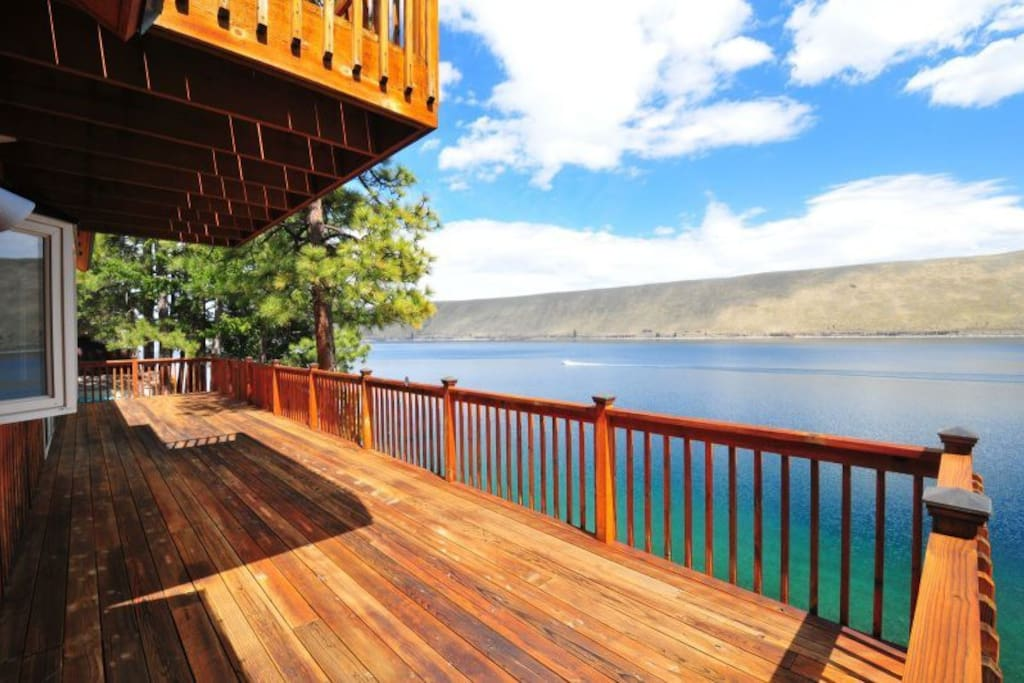 Large private home with a huge deck overlooking Wallowa Lake