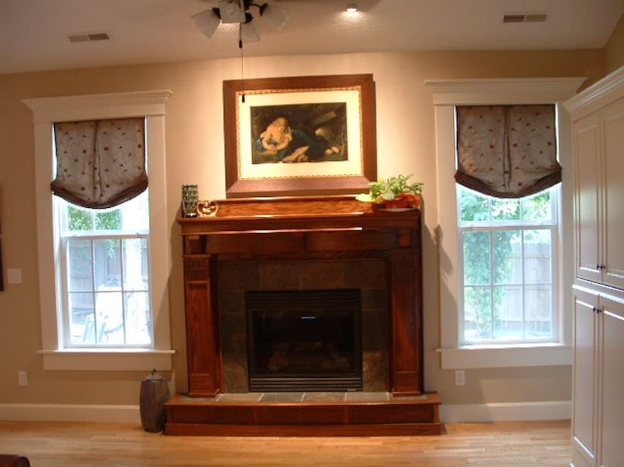 Living room of the house with gas fireplace