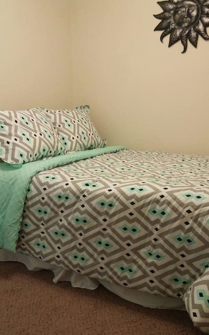 A double bed is also available in a bonus room in the apartment.  This is located in a common area, but separate from the kitchen/living area.