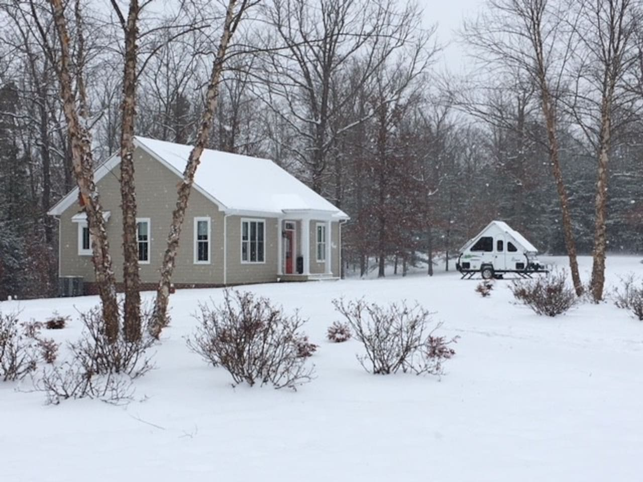 Winter at our cottage, custom built in 2015.  Well appointed, entire place with all that you can imagine - hard wood floors, stainless appliances, central air and heat.  Soft cotton, down pillows on your beds!  Big bath, local magazines on C'Ville.