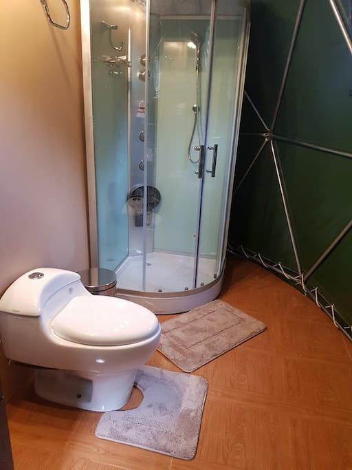 Private bathroom at our salkantay trek sky dome