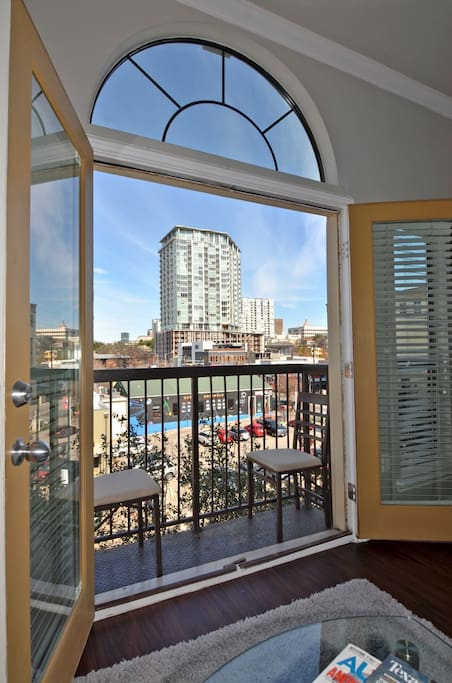 View from double patio doors with Juliet balcony