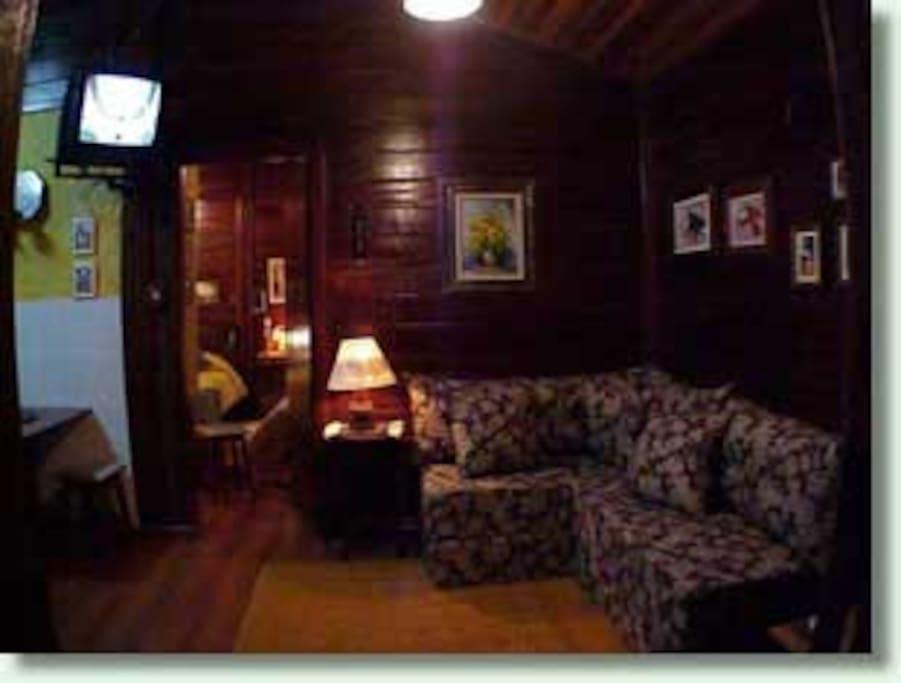 Sala de estar com lareira, tv,  sofá-cama.