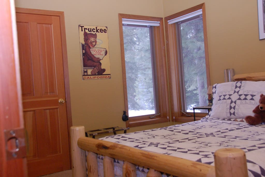 Guest room, walk in closet, TV with dish and DVD.