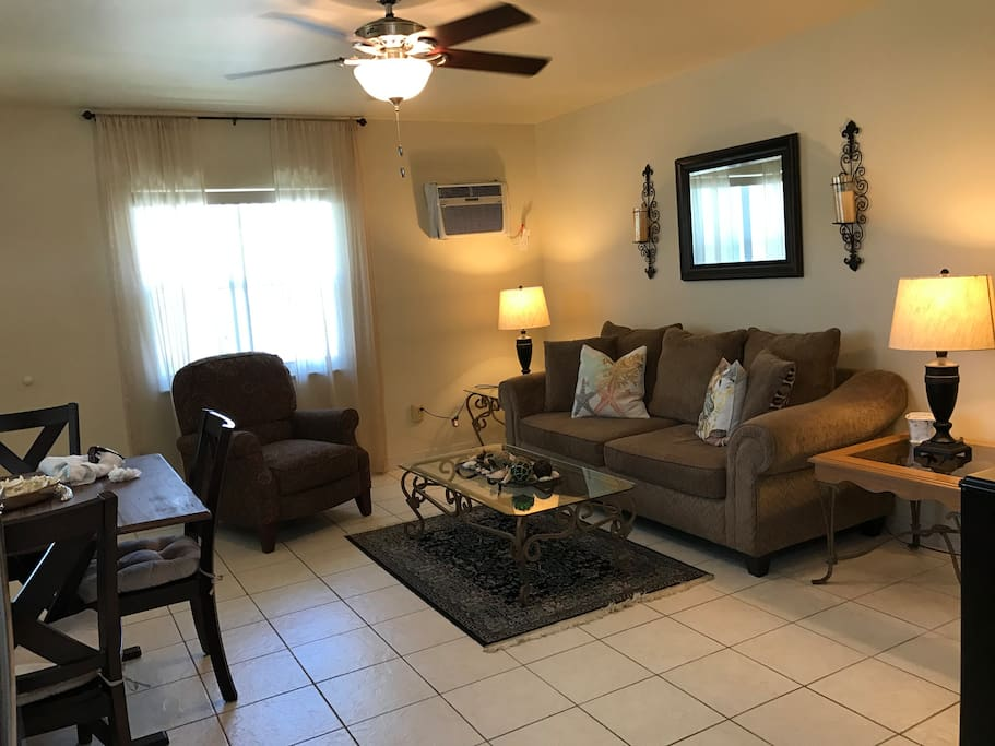 Spacious Living Room with Sofa Bed, Recliner Chair