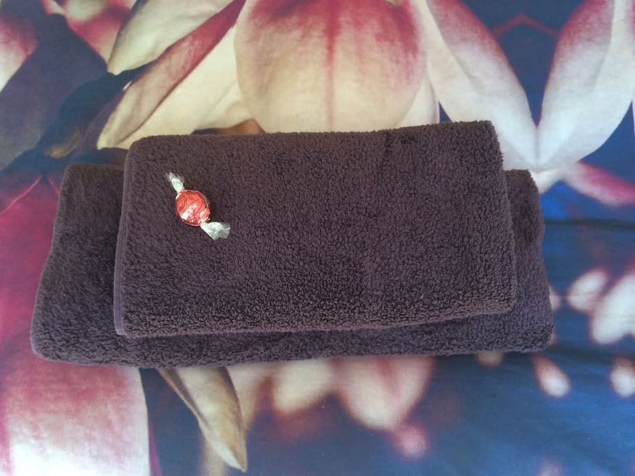 Lovely soft towels and a complementary truffle
