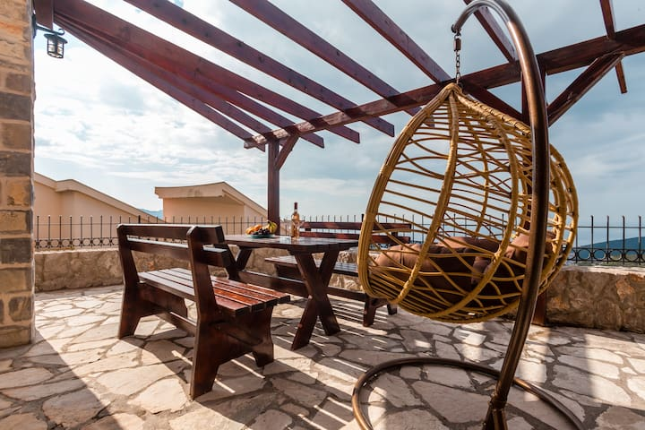 Balcony from  this villa. Perfect place for you after beach time is over. Take your drink and enjoy here.