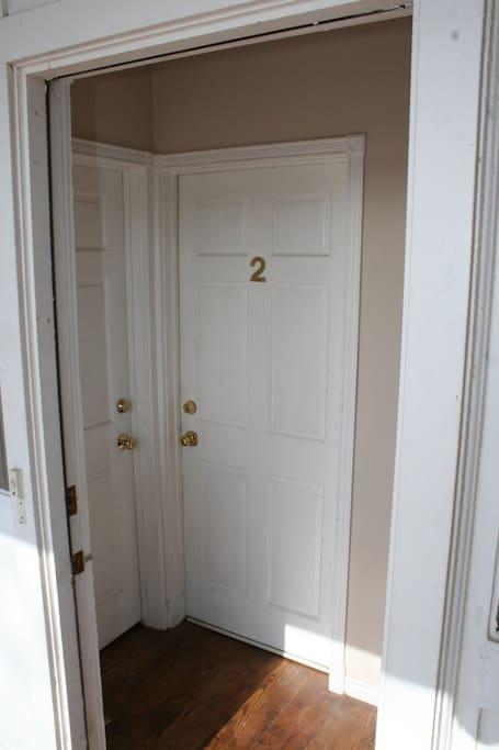 The front door of the unit