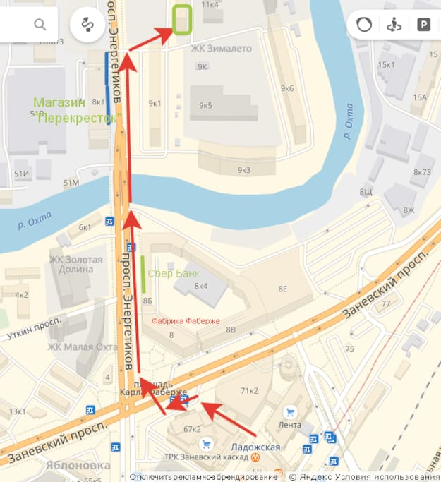 Схема движения к дому от метро Ладожская