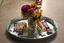 Welcome snacks , flowers from the garden (while they last) . . . all kinds of little extras!