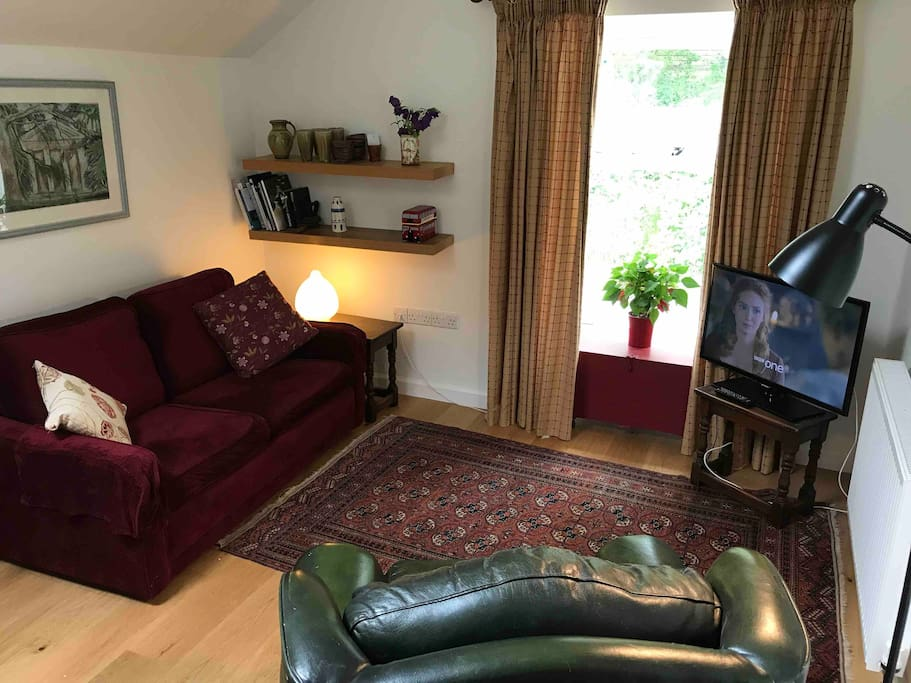 The sitting room - the sofa turns into a small double bed