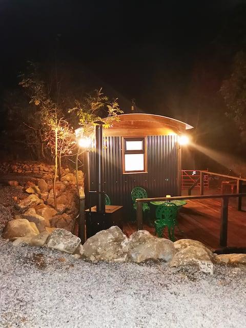 St Kevin's Shepherds Hut and Whiskey Barrel sauna.
