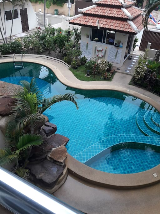 View of the swimming pool from the balcony