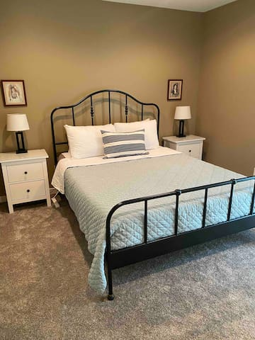 A queen-sized bed with a Casper mattress will leave you with a restful night of sleep. There is a power strip on each side of the bed for your convenience.