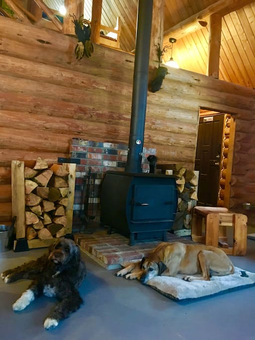 Relaxing by the wood stove.