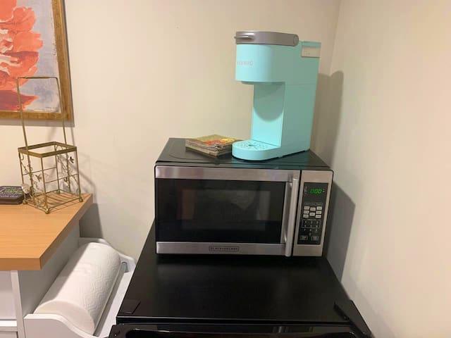 Keurig, microwave, mini fridge