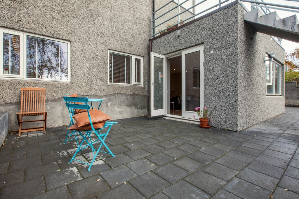 A terrace outside the living room; 20 square meters. Whether it is spring, summer, autumn or winter it is wonderful to able to walk directly outside. Ideal for dining or recreation or just sitting  out there enjoying a coffee, hot chocolate or a drink.
