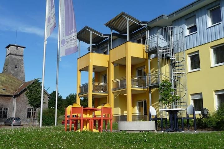 A holiday home for four people in a sports complex between Lake Constance and the Black Forest.