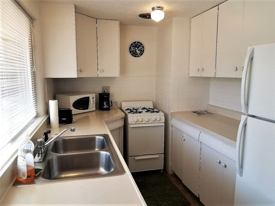 The fully-equipped kitchen.