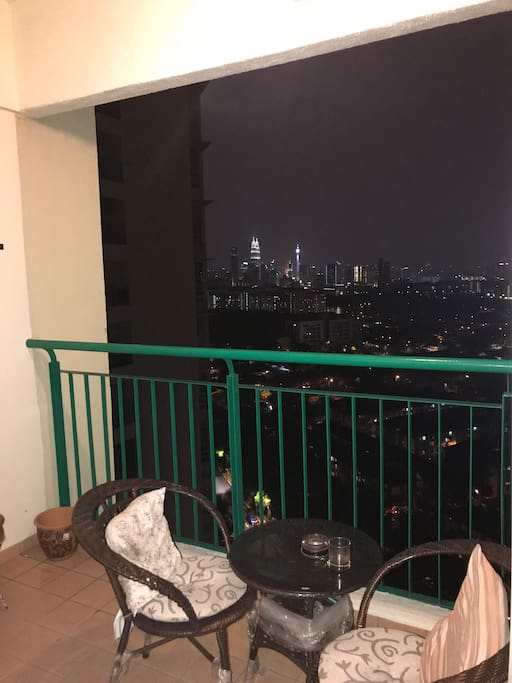 Balcony with KLCC and KL Tower View