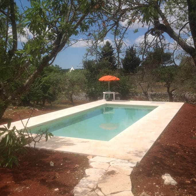 10x4 mtr pool in side garden. 1 mtr to 1.9 in depth.