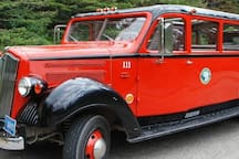 Iconic Red Bus for touring Glacier National Park