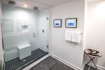 Master bathroom- duel rainheads shower