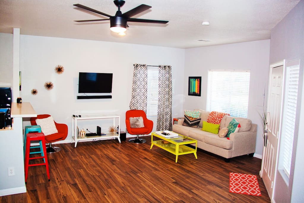 Living room area with pull our queen sofa bed.
