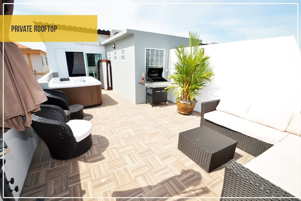 Rooftop jacuzzi sitting area BBQ Lounge