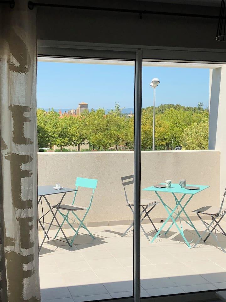 La terrasse, deux tables pliantes disponibles et 4 chaises.