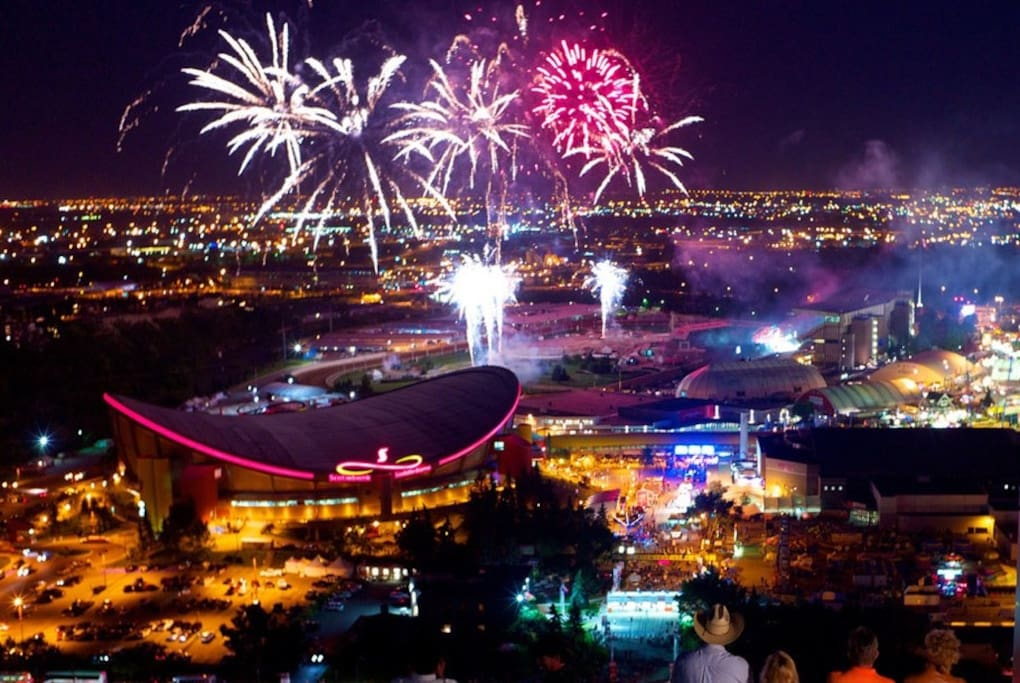 STAMPEDE+Canada Day fireworks from living room, bedroom and balcony! -credit Ernest Hon