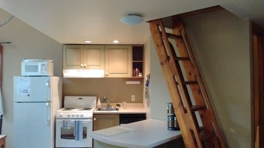 Kitchenette, and access to loft