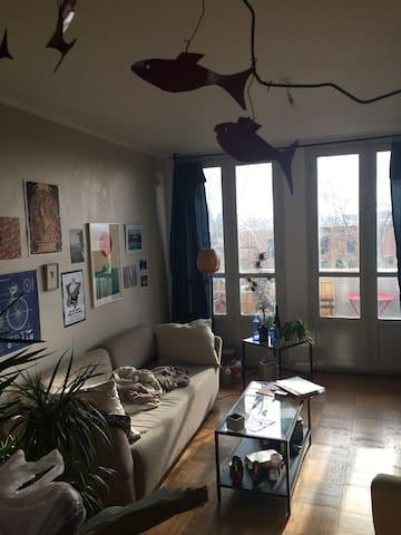 Chambre ds appartement avec vue sur la Garonne
