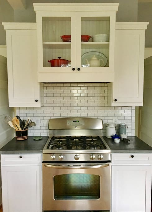 Kitchen featuring gas range