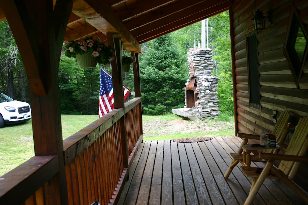 Front of cabin, covered porch entrance