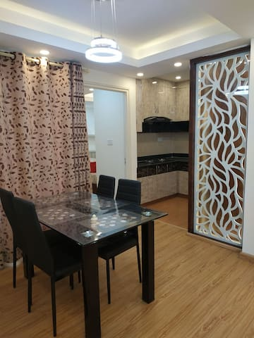 A brand new apartment with swimming pool and gym