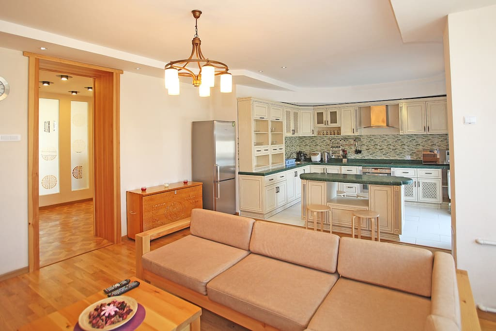 The open kitchen is spacious and well equipped for those who love cooking.