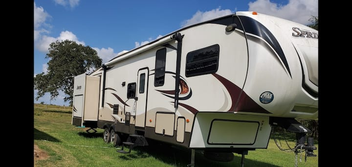 Rv with a ranch view