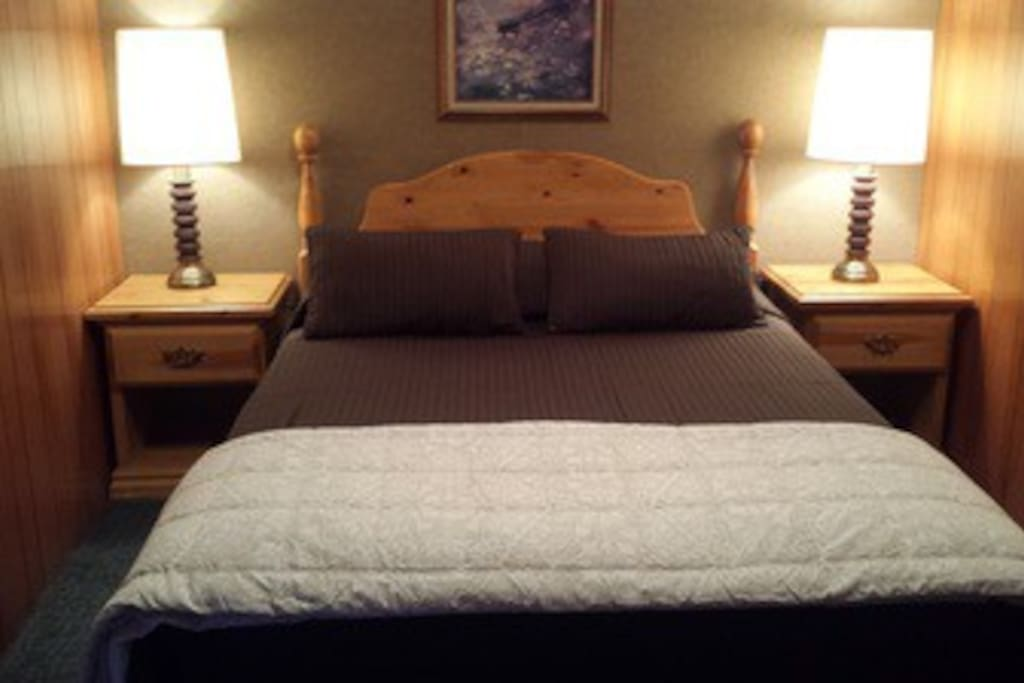 Great queen beds for 1-2 guests & a fold out bed!