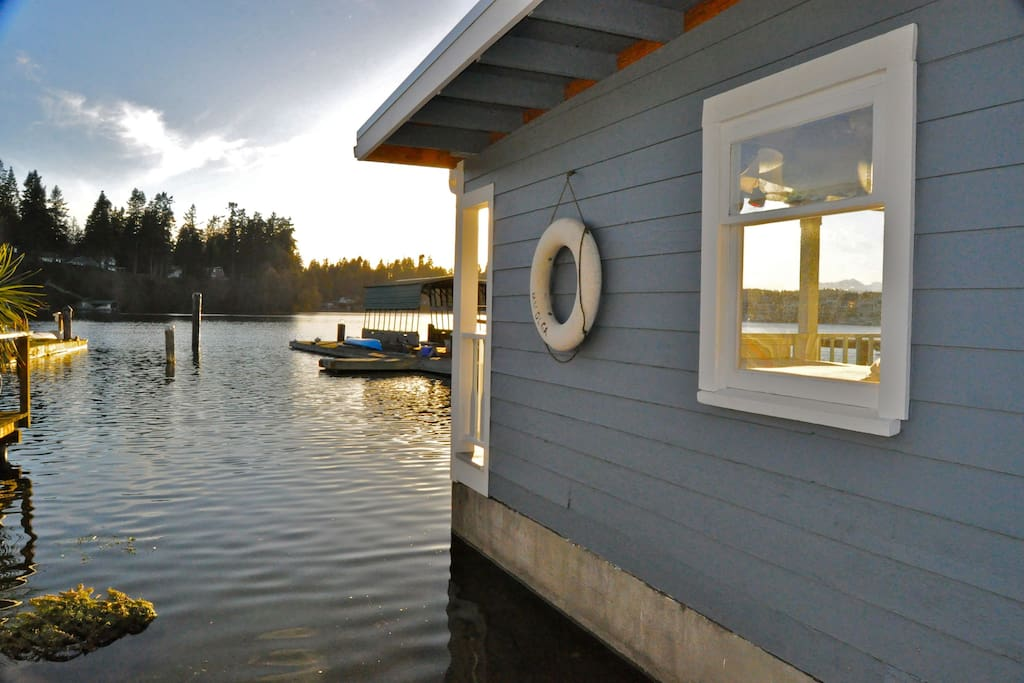View of the home during high tide, where the water rises around and below the home!