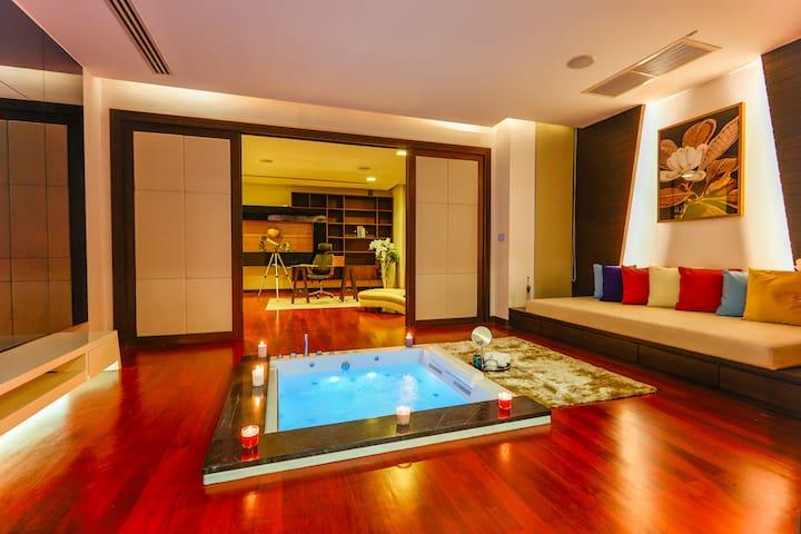 luxury award Bangkok private waterfall pool villa