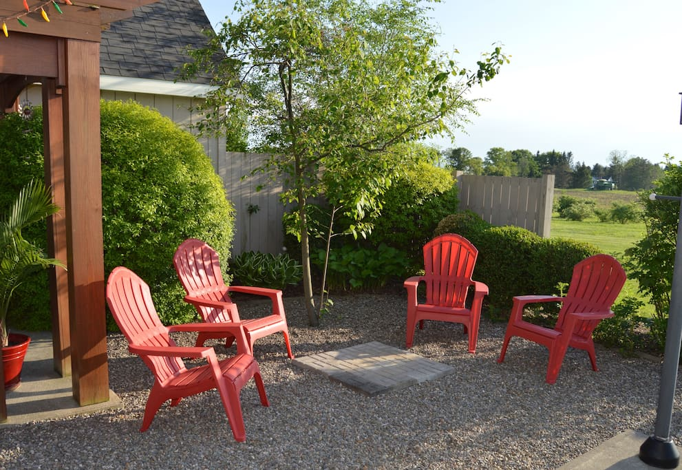 Relax and unwind in the backyard garden patio
