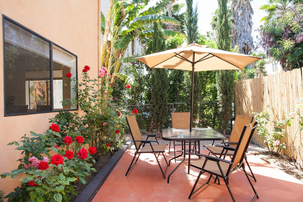 Relax and enjoy sunny LA on our rose garden patio just out front!